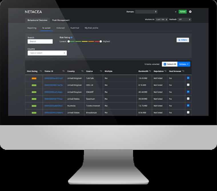 Netacea bot management Screenshot