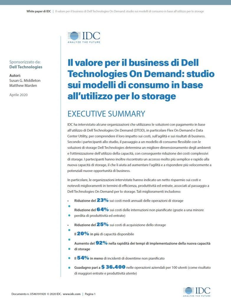 , , Il valore per il business di Dell Technologies On Demand: studio sui modelli di consumo in base all'utilizzo per lo storage
