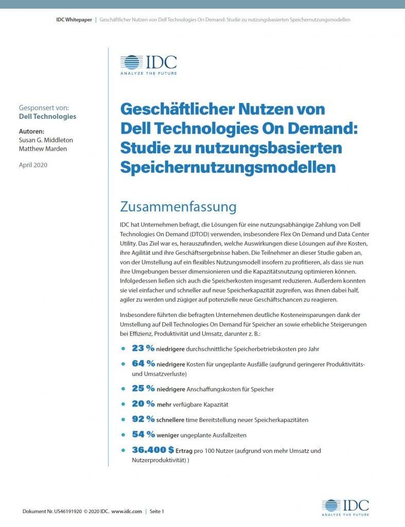 , , Geschäftlicher Nutzen von Dell Technologies On Demand: Studie zu nutzungsbasierten Speichernutzungsmodellen