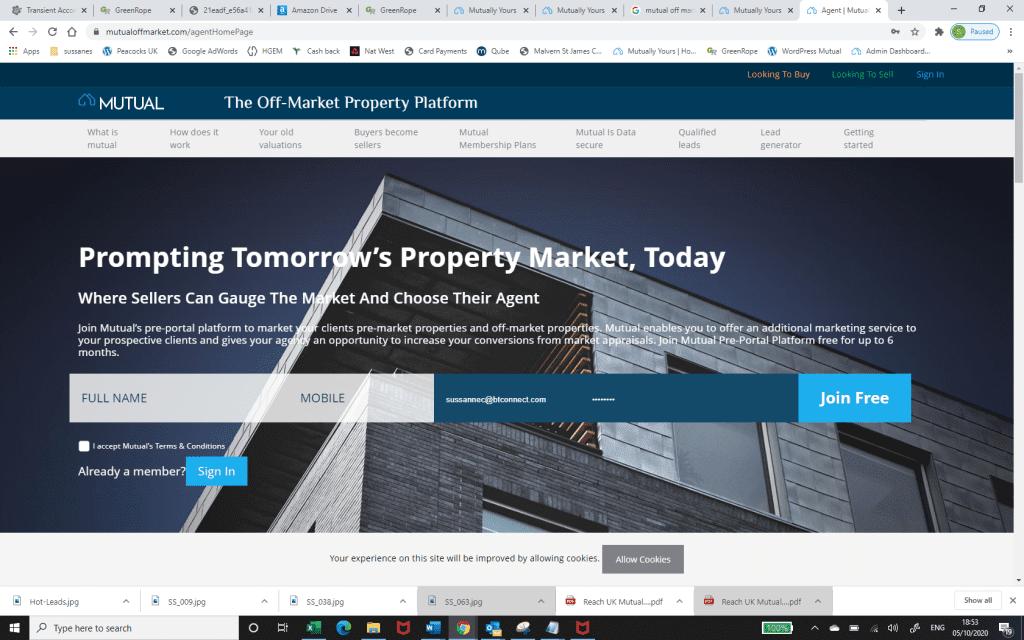 Agents Home Page Screenshot - Mutual Proptech Platform